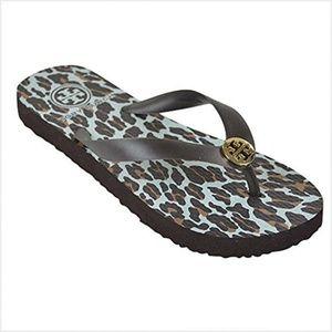 Tory Burch leopard print flip flops 7.5